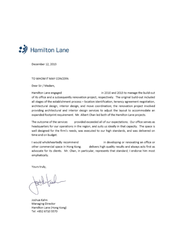 Hamilton Lane Testimonial 2013