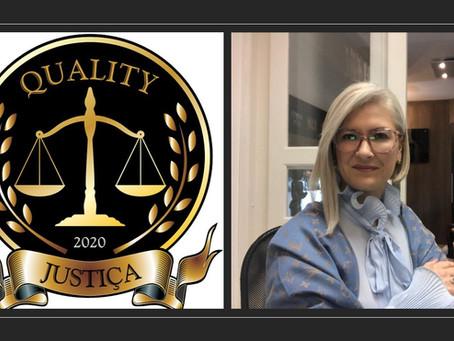 QUALITY ® 2020 - DEBORA DE CASTRO DA ROCHA ADVOCACIA GANHADORA DO PRÊMIO NA CATEGORIA JUSTIÇA