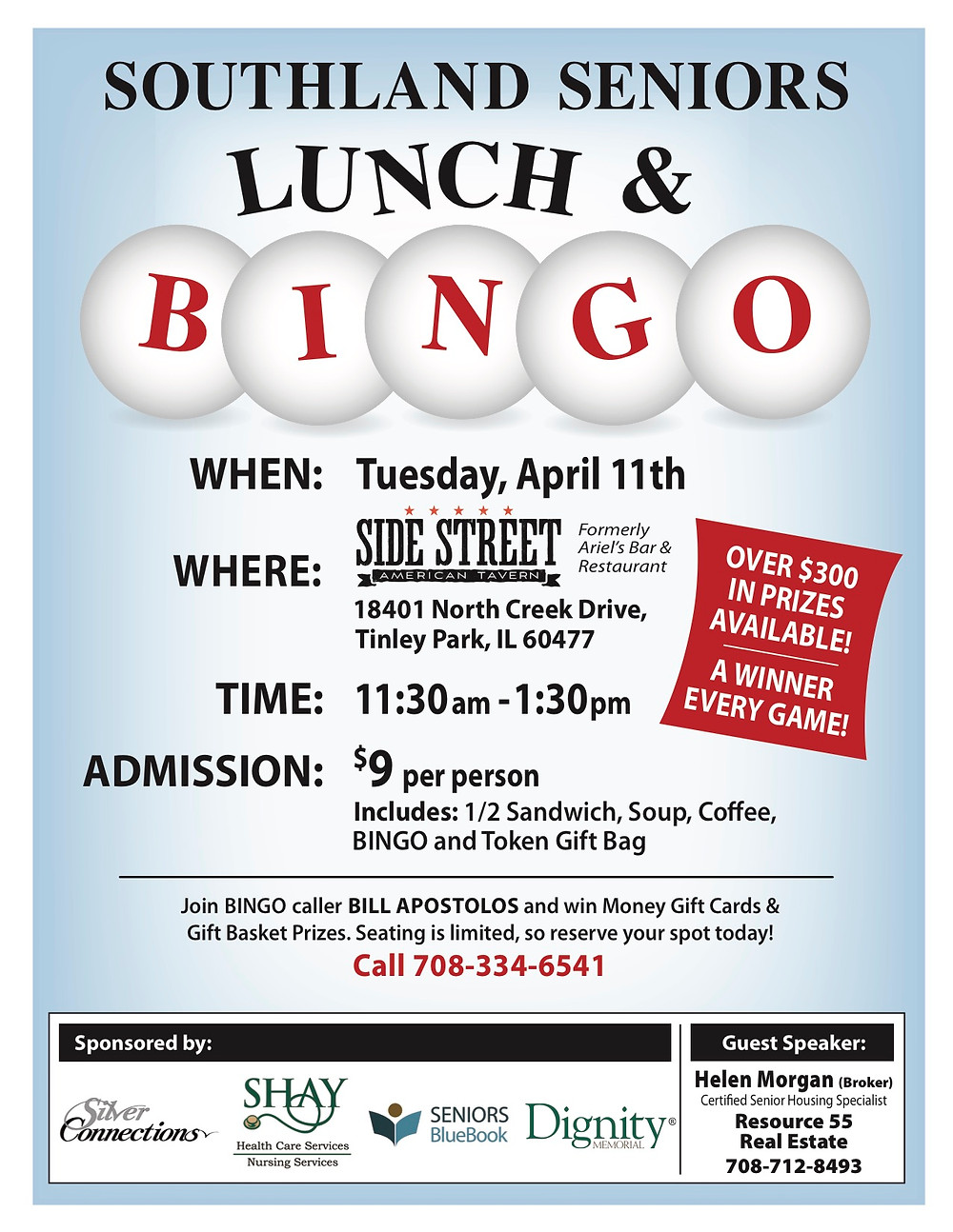 Bingo and Lunch for Seniors April 11th