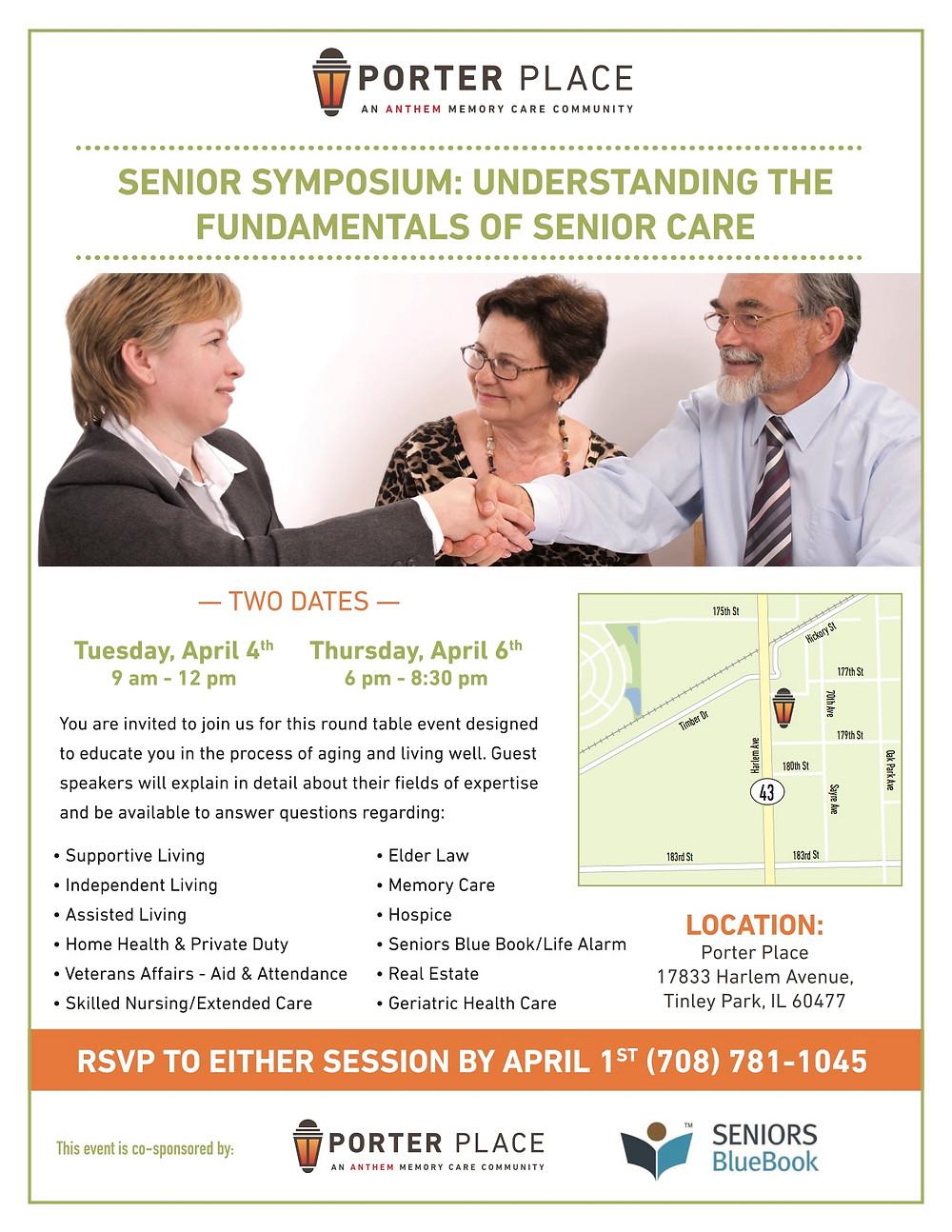 Senior Symposium Event: Understanding the Fundamentals of Senior Care April 4th and 6th