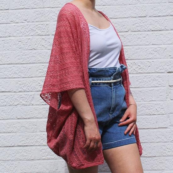 Lace Kimono Wrap Top in rhubarb