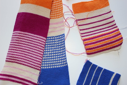 Knitted textile swatches