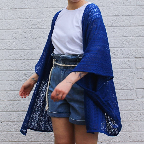 Lace Kimono Wrap Top in navy