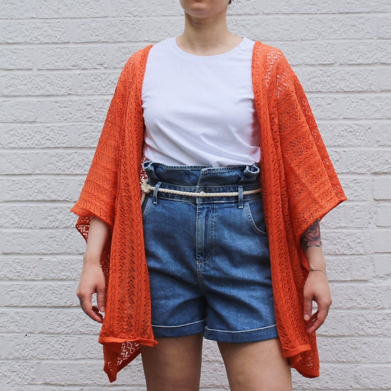 Lace Kimono Wrap Top in tangerine
