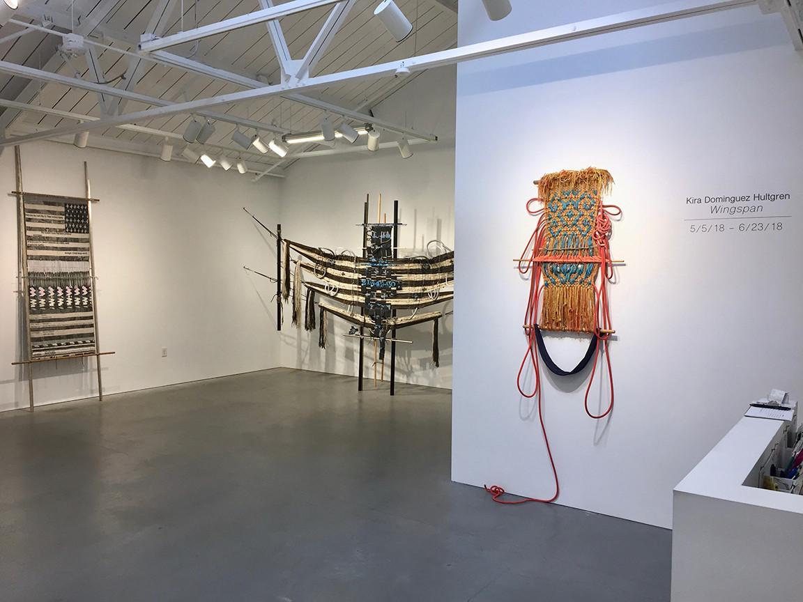 L-R: Loom with Textile (After Asdzáá Tl'ógí)  -- Across_1 -- Fantasies in the Hold. Again and Again.