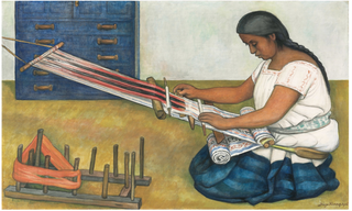 """Diego Rivera, Weaving, Tempera and oil on canvas, 26"""" x 42,"""" 1936  © 2018 Banco de México Diego Rivera Frida Kahlo Museums Trust, Mexico, D.F. / Artists Rights Society (ARS), New York  Source: https://www.artic.edu/artworks/151363/weaving"""