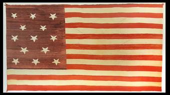 "Blanket, Navajo, Circa 1900, Handspun wool. 52"" x 94"" (Source: Toby Herbst and Joel Kopp, The Flag in American Indian Art. Seattle: Univ. of Washington Press, New York State Historical Association, 1993, 104)"