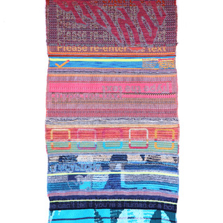 """reCAPTCHA, reType, reEnter 2019  Digital hand-loomed cotton, sheep and goat wool, linen, silk, and various acrylic blends, 65"""" × 29"""" × 1"""""""