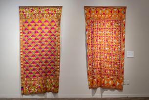 """Dalip Kaur (Johal) Bains Phulkari (Saloo) 53"""" x 110"""" x 1""""  1925 Handspun, hand-dyed cotton khadi cloth, embroidered in silk  Dalip Kaur (Johal) Bains Phulkari (Saloo) 52"""" x 110"""" x 1""""  1925 Handspun, hand-dyed cotton khadi cloth, embroidered in silk"""