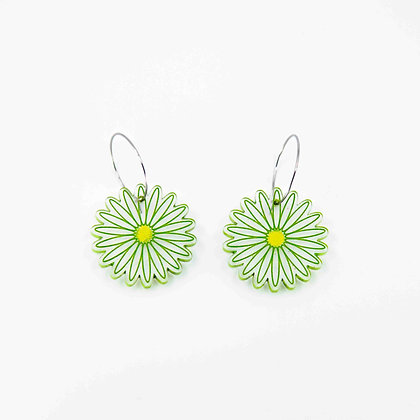 Green Daisy Drop Earrings