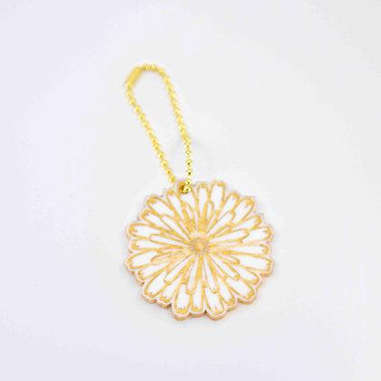Chysanthemum Leather Floral Key Ring/Bag Charm