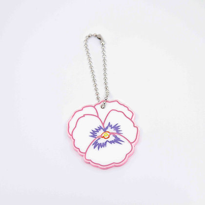 Pansy Leather Key Ring/Bag Charm