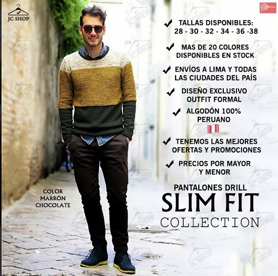 Pantalones Drill Slim Y Skinny Fit Pitillo Stretch Hombre Jomarstore