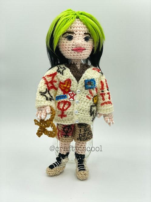 Billie Eilish inspired Amigurumi Doll Pattern with Pretzel