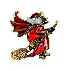 Funny Unisex Flying Mop Witch Pin-US$9.59