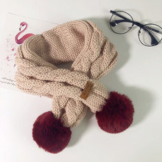 Ball Decor Solid Cotton Warm Kids Knit Scarf-US$12.00