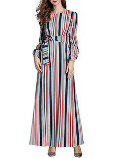 Contrast Striped Long Sleeve A Line Long Dress -US$39.54