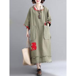 Floral Print Patchwork Vintage Dress -US$53.99