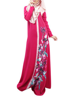 Floral Printed Long Sleeve Muslim Maxi Dress -US$35.99