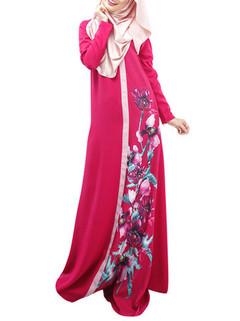 Floral Printed Long Sleeve Muslim Maxi Dress -US$35.99