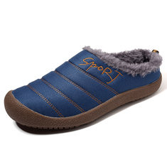 Large Size Men Stripe Warm Home Slipper Boots-RM132.20