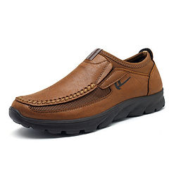 Men Shoes Large Size Hand Stitching Microfiber Leather Non-slip Casual Shoes - RM93.84