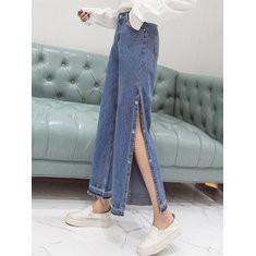 Split Wide Leg Button Pockets Loose Flare Jeans-RM124.59