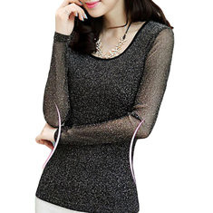Gold and Silver Mesh Yarn Round Neck Shirt-RM55.82