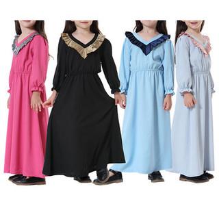 Muslim Abaya Islamic Girls Dress For 2-15Y -US$27.25