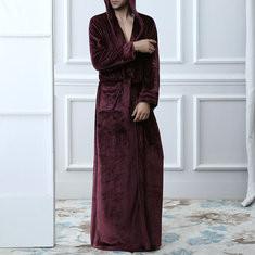 Flannel Ankle-Length Hooded Bathrobe-US$27.94