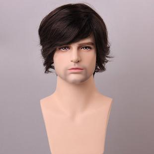 Medium Brown Men Human Hair Wig Male Mo-US$81.52