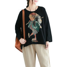 Cartoon Cotton Long Sleeve O-neck Shirt-RM128.86