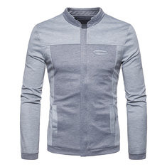 Mens Patchwork Slim Fit Stand Color Long Sleeve-RM112.41