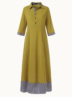 Stripe Patchwork Half Sleeve Long Dress -US$33.99