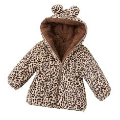 Leopard Print Girls Hooded Coat For 1Y-7Y-US$34.99