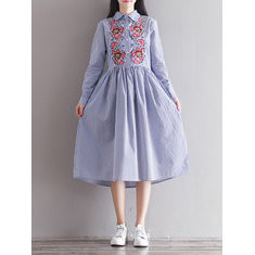 Striped Rose Embroidery Long Sleeve Dress-RM116.02