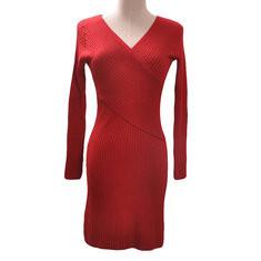 Knit Slim V-neck Long Sleeve Bodycon Dress-RM98.83