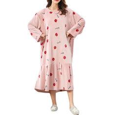 Flannel Maternity Plus Size Pajama Dress 5XL 6XL-US$35.00