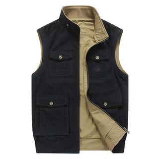 Plus Size Mutil Pockets Reversible Vest-US$32.95
