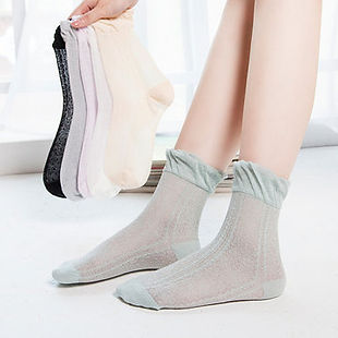 Women Cotton Ultra-Thin Solid Pure Color Ice Silk Mesh Breathable Lace Pine Ankle Socks-RM19.64