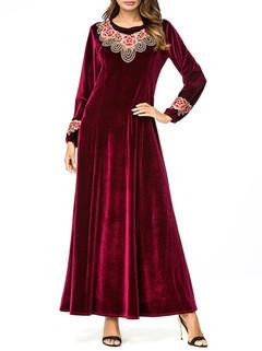 Velvet Embroidery Long Sleeve Islam Long Dr-US$48.00