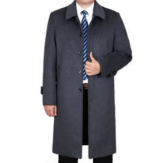 RM396.53-Woolen Mid-long Casual Trench Coat