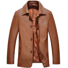 PU Leather Single-breasted Business Casual Jacket US$41.18