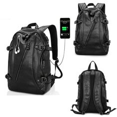 Men Faux Leather USB  Laptop Bag Backpack School Bag