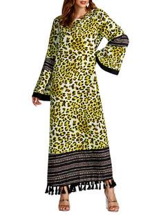 Leopard Print Patchwork Tassels Dress -US$39.99