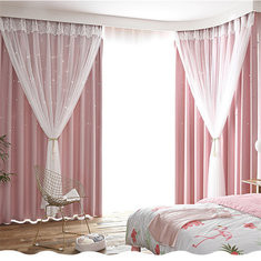 100x270cm Ins Lace Curtains Hollow Star Bedroom Blackout  RM34.97