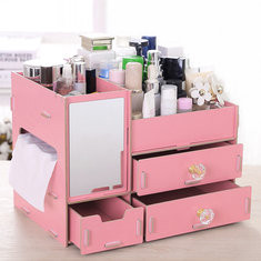 Wooden Cosmetic Box With Mirror-US$21.86