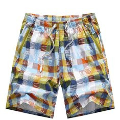Plaid Knee Length Board Shorts-US$13.27