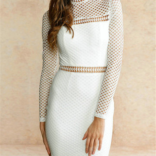 RM123.26 -Lace Long Sleeve Slim Bodycon Dress
