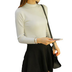 Solid Color High-neck Long Sleeve Slim Shirt-RM81.60